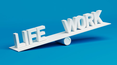 work life balance: Scale Concept isolated on blue background