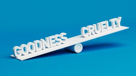 bondad: Bondad Crueldad Escala Concepto aislado en fondo azul