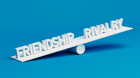 rivalry: Friendship Rivalry Scale Concept isolated on blue background