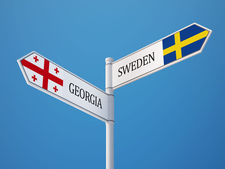 Sweden Georgia High Resolution Sign Flags Concept photo