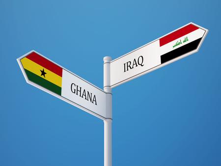 Iraq Ghana High Resolution Sign Flags Concept photo