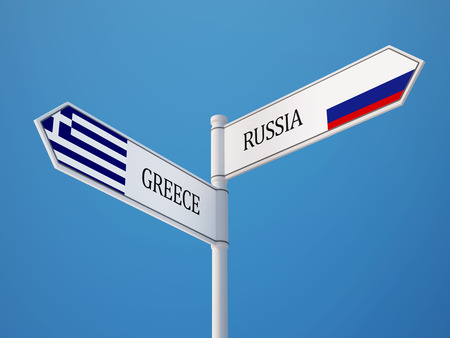 Russia Greece High Resolution Sign Flags Concept