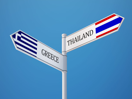 Thailand Greece High Resolution Sign Flags Concept photo