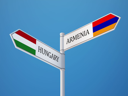 high resolution: Armenia Hungary High Resolution Sign Flags Concept Stock Photo