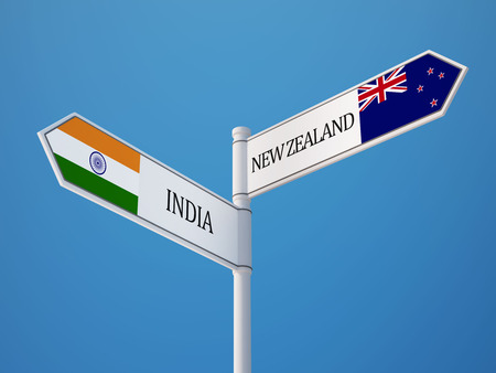 New Zealand India High Resolution Sign Flags Concept photo