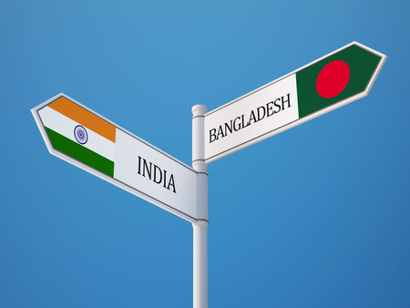 Bangladesh India High Resolution Sign Flags Concept photo