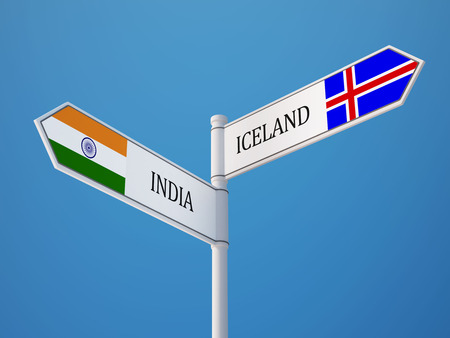 Iceland India High Resolution Sign Flags Concept