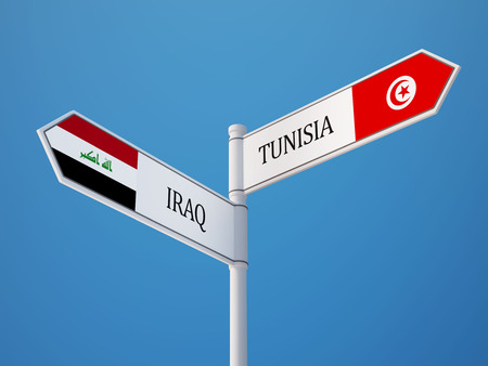 tunisie: Tunisia Iraq High Resolution Sign Flags Concept Stock Photo