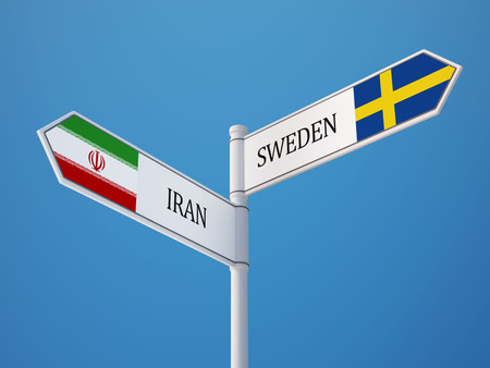 the swedish flag: Sweden Iran High Resolution Sign Flags Concept