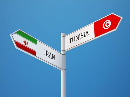 tunisie: Tunisia Iran High Resolution Sign Flags Concept