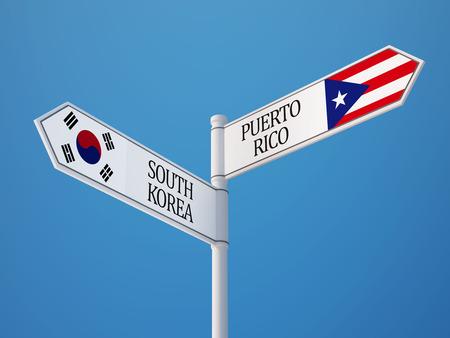 South Korea Puerto Rico High Resolution Countries Sign Concept photo