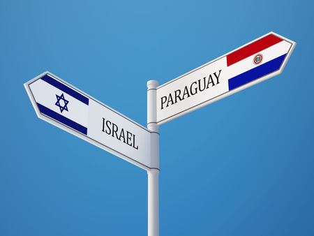 Paraguay Israel High Resolution Sign Flags Concept photo
