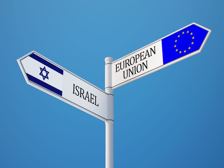 European Union Israel High Resolution Sign Flags Concept