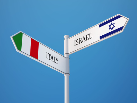 Italy Israel High Resolution Sign Flags Concept
