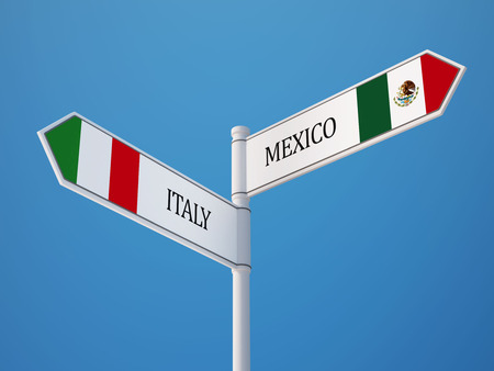 italian flag: Mexico  Italy High Resolution Sign Flags Concept Stock Photo