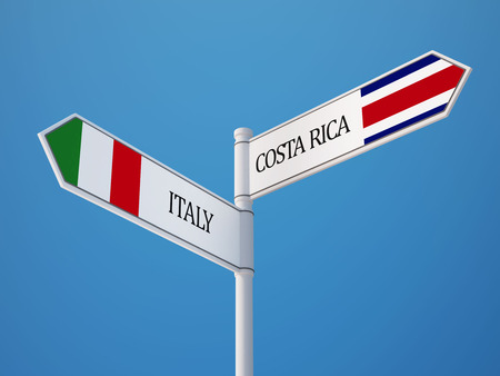 Costa Rica  Italy High Resolution Sign Flags Concept