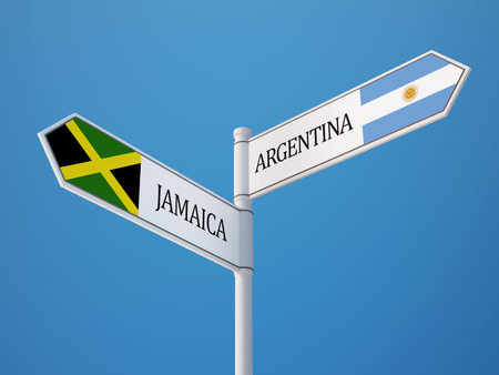 Argentina Jamaica High Resolution Sign Flags Concept photo