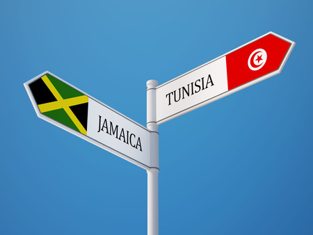 tunisie: Tunisia Jamaica High Resolution Sign Flags Concept