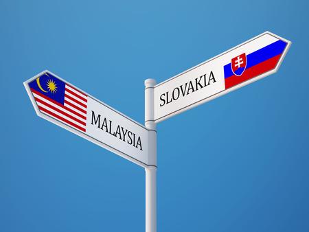 slovakia: Slovakia Malaysia High Resolution Sign Flags Concept