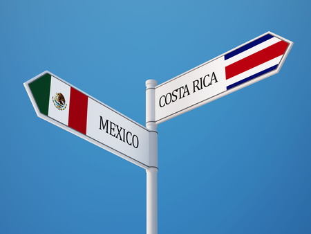 Costa Rica  Mexico High Resolution Sign Flags Concept