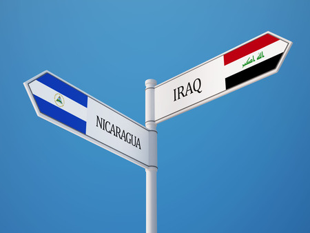 Nicaragua Iraq High Resolution Sign Flags Concept photo