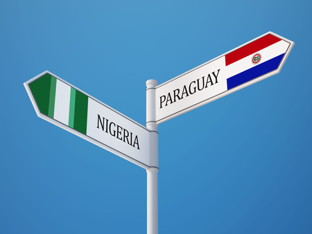 Paraguay Nigeria High Resolution Sign Flags Concept photo
