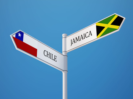 Chile Jamaica High Resolution Sign Flags Concept photo