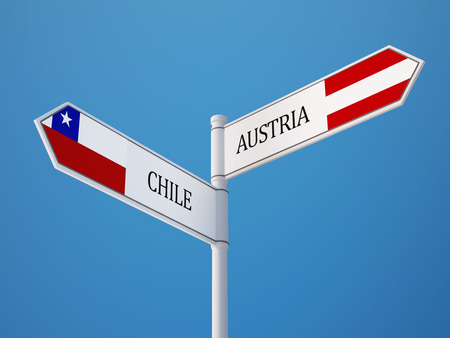 chile: Austria Chile High Resolution Sign Flags Concept