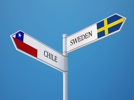 Sweden Chile High Resolution Sign Flags Concept Stock Photo