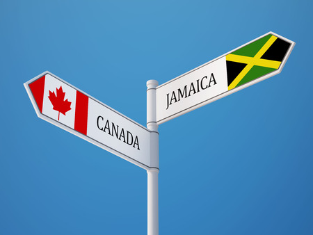 Canada Jamaica High Resolution Sign Flags Concept