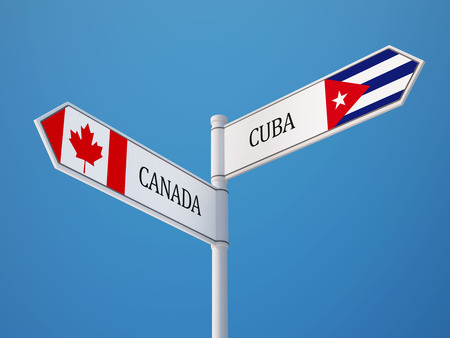 Cuba Canada High Resolution Sign Flags Concept
