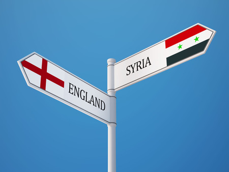 Syria England High Resolution Sign Flags Concept photo