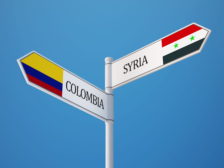 Syria Colombia High Resolution Sign Flags Concept photo