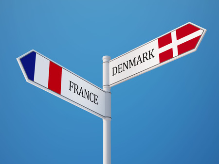 Denmark France High Resolution Sign Flags Concept