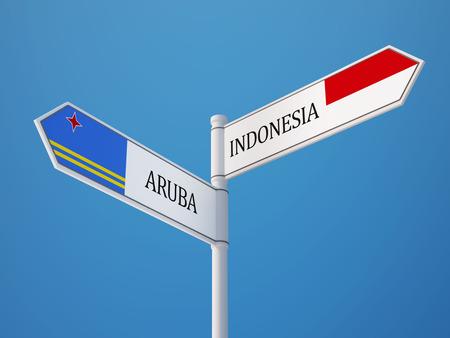 sumatra: Indonesia Aruba High Resolution Sign Flags Concept
