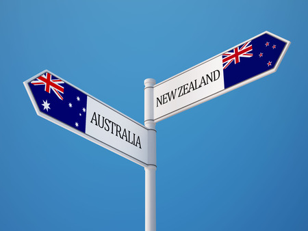 Australia New Zealand High Resolution Sign Flags Concept