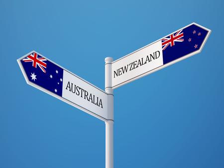 Australia New Zealand High Resolution Sign Flags Concept