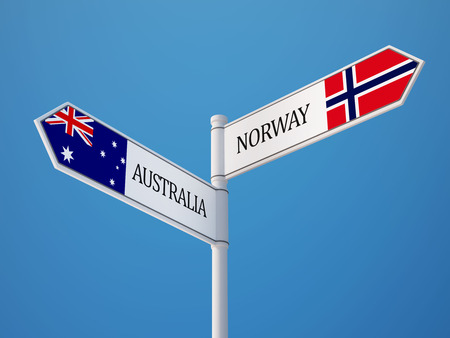 Norway Australia High Resolution Sign Flags Concept Imagens