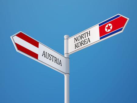 Austria North Korea High Resolution Sign Flags Concept
