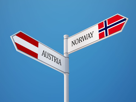 Norway Austria High Resolution Sign Flags Concept Reklamní fotografie - 29081073