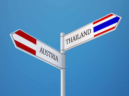 Thailand Austria High Resolution Sign Flags Concept Фото со стока