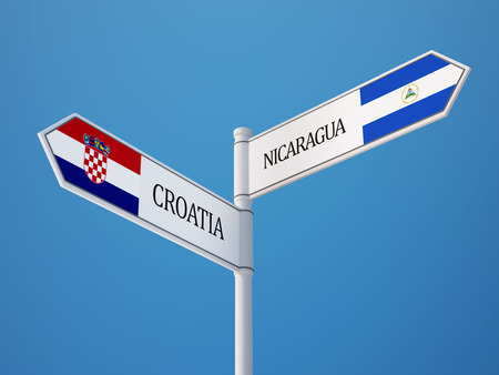 Croatia  Nicaragua High Resolution Sign Flags Concept photo