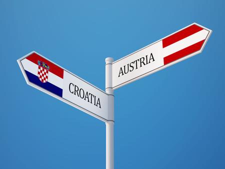 austrian flag: Croatia  Austria High Resolution Sign Flags Concept
