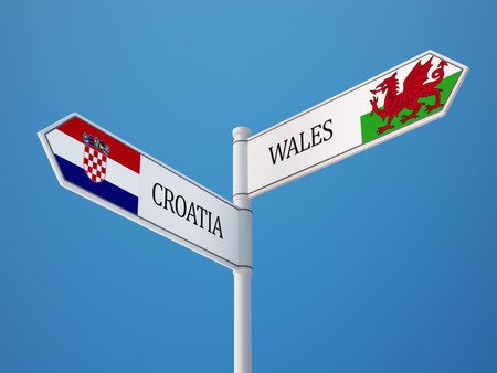Wales Croatia High Resolution Sign Flags Concept