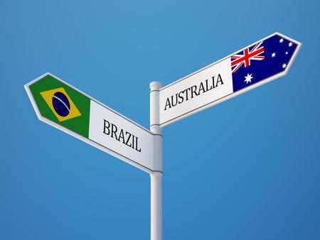 flag australia: Brazil Australia High Resolution Sign Flags Concept Stock Photo
