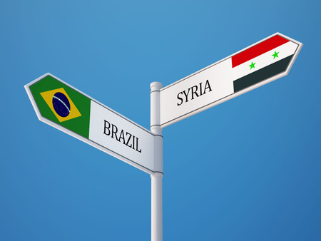 Syria Brazil High Resolution Sign Flags Concept photo