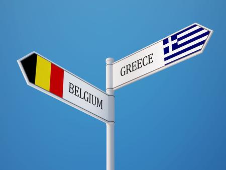 België Griekenland met hoge resolutie Sign Vlaggen Concept Stockfoto