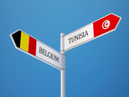 tunisie: Tunisia Belgium High Resolution Sign Flags Concept