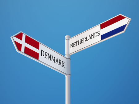 danish flag: Denmark Netherlands High Resolution Sign Flags Concept Stock Photo