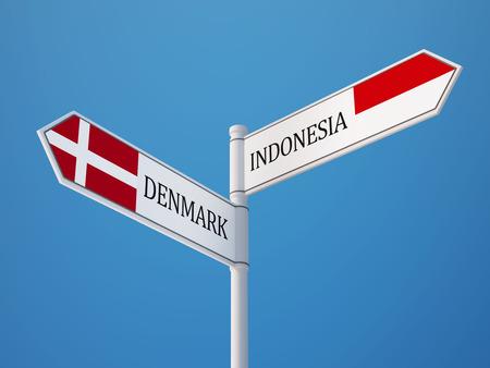 sumatra: Indonesia Denmark High Resolution Sign Flags Concept